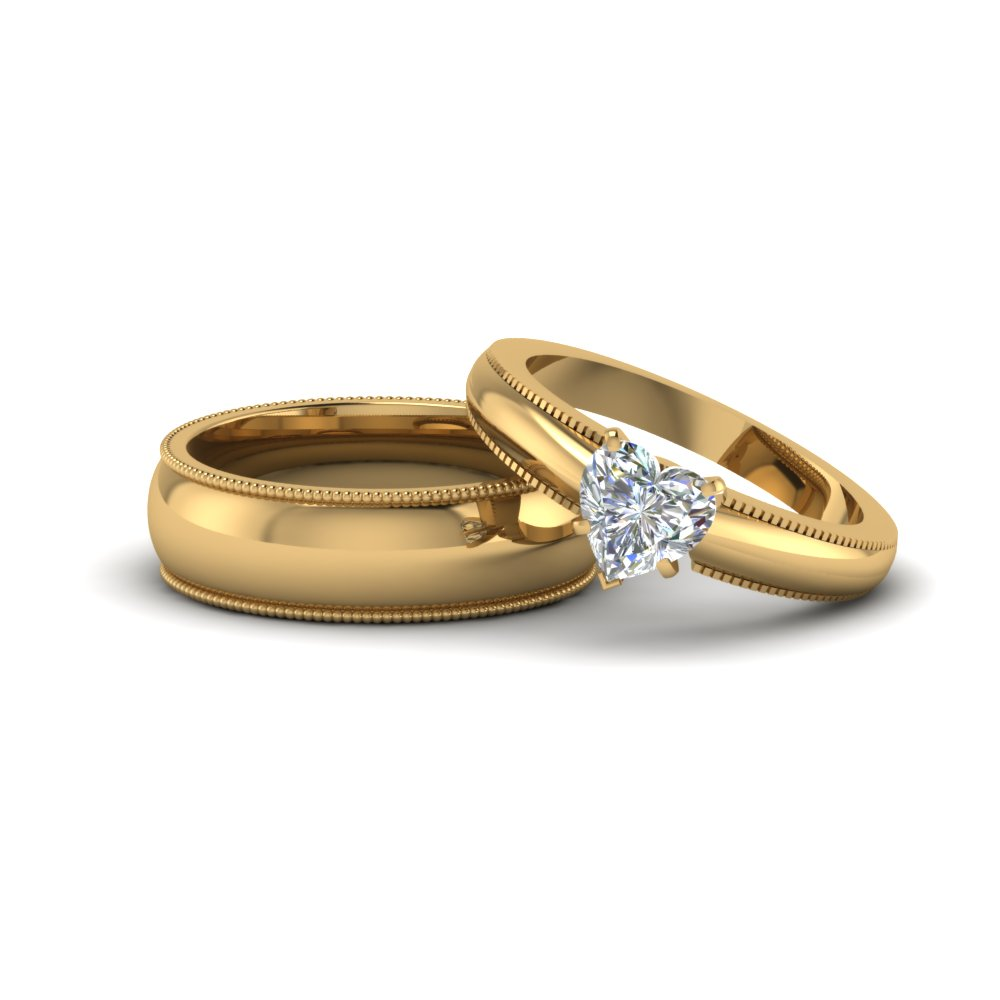 Heart Shaped Matching Wedding Anniversary Ring With Band For Him
