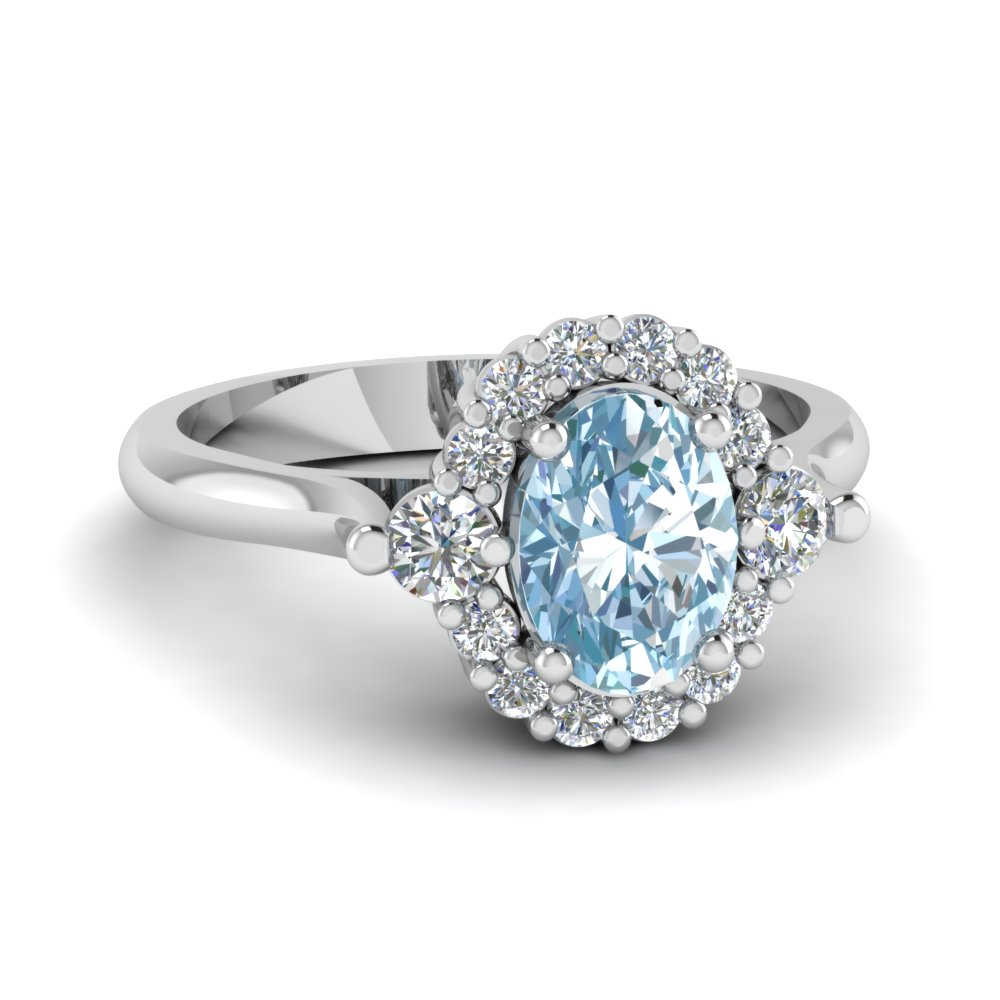 Oval Aquamarine Halo Diamond Engagement Ring