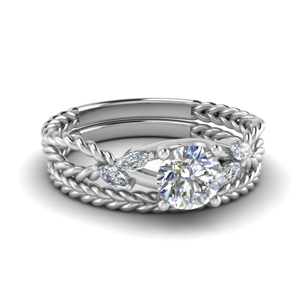 Round Cut Twist Rope Design Diamond Bridal Ring Sets In 14k White