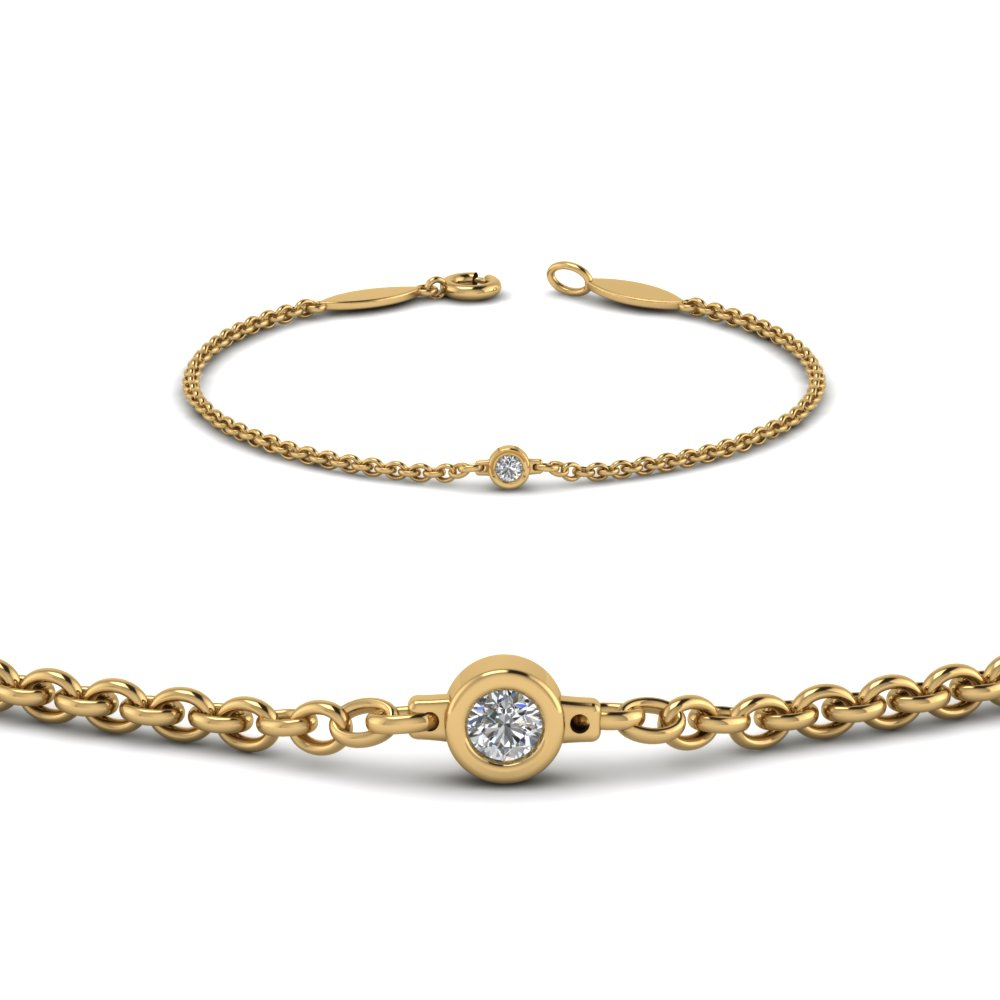White Gold Chain Bracelet: Single Diamond Chain Bracelet In 14K Yellow Gold