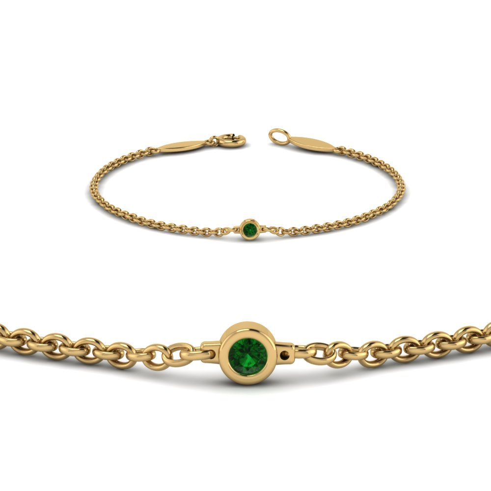 Single Diamond Chain Bracelet With Emerald In 14k Yellow Gold Fdbr651576gemgrangle2 Nl Yg
